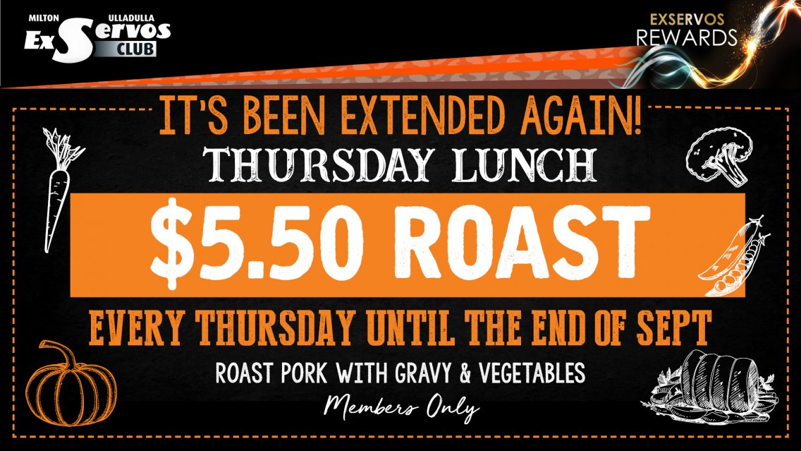 Thursday Members Lunch - $5.50 ROAST!
