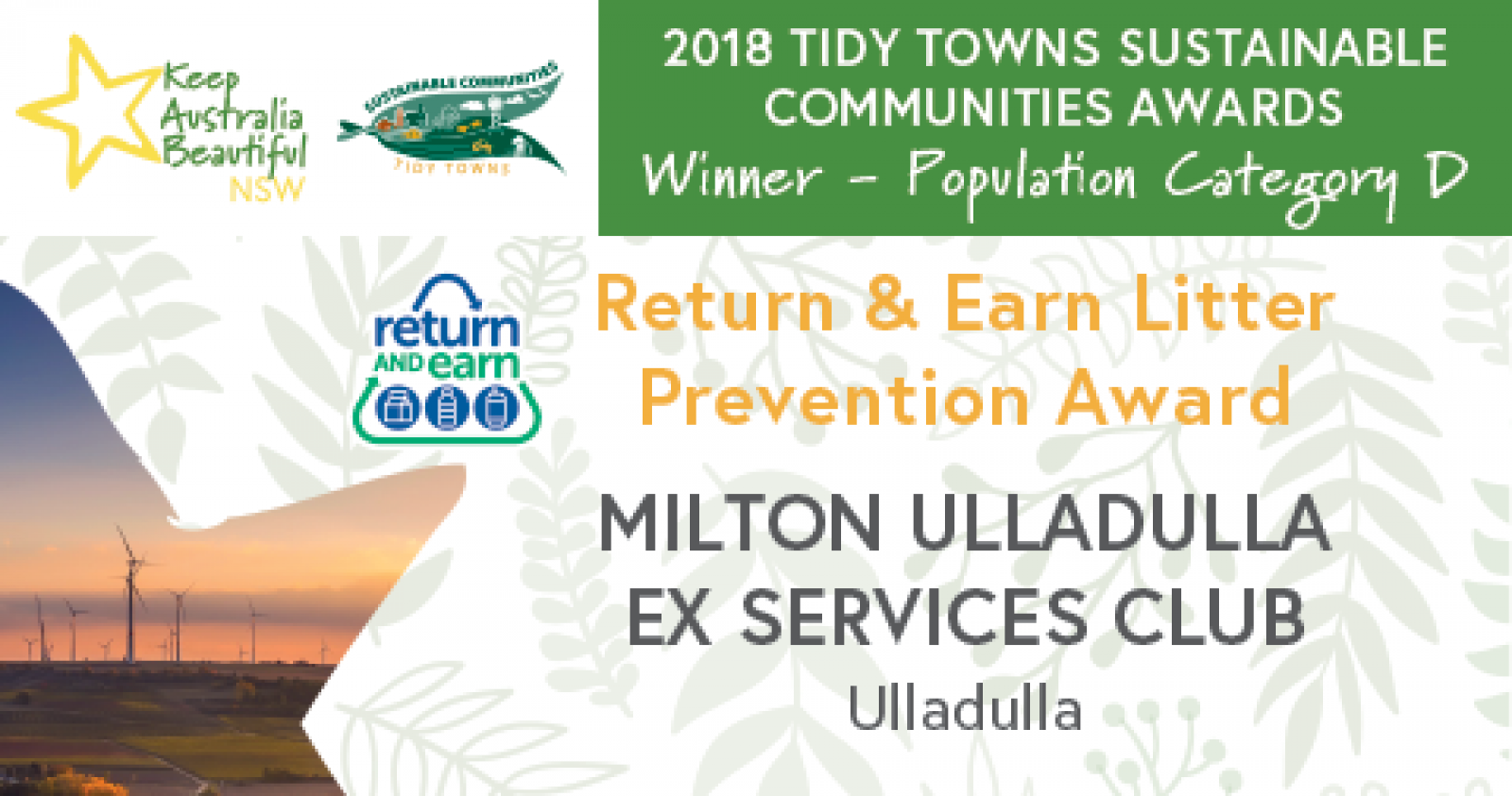 Return and Earn Litter Prevention Award to the ExSeevos